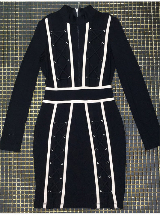 Women's Autumn Lace-Up Striped Bandage Mini Sheath Dress