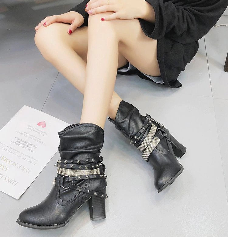 Women's Autumn/Winter Mid-Calf PU Leather Ankle Boots With Buckles