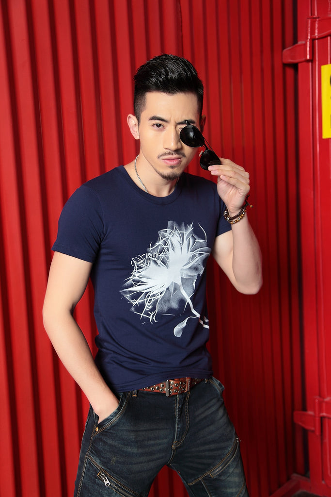 Men's Summer Cotton O-Neck Slim T-Shirt With Printed Dandelion