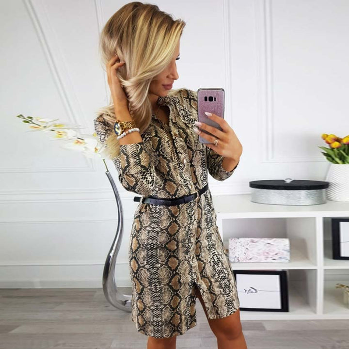 Women's Spring Long-Sleeved V-Neck Loose Dress With Snake Pattern