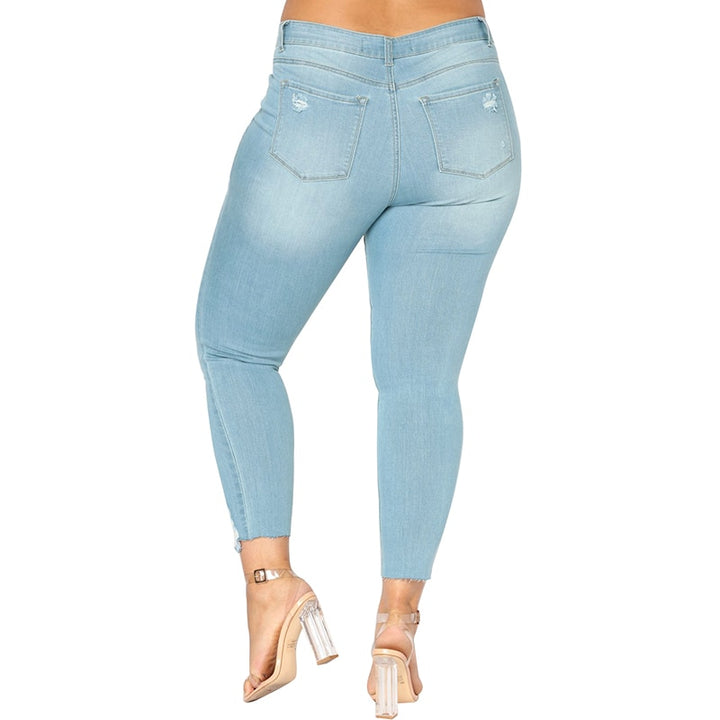 Women's Spring/Summer Casual Stretch Ripped High-Waist Jeans