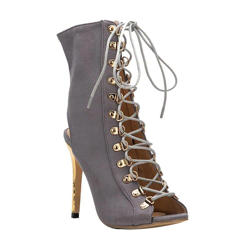 Women's Spring/Autumn Flock High-Heeled T-Tied Ankle Boots With Peep Toe
