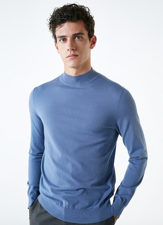 Men's Autumn Basic High Neck Knitted Sweater