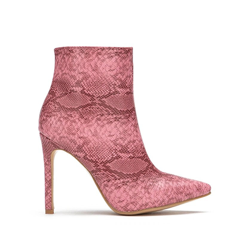 Women's Winter PU Leather Thin High-Heeled Ankle Boots With Snake Pattern