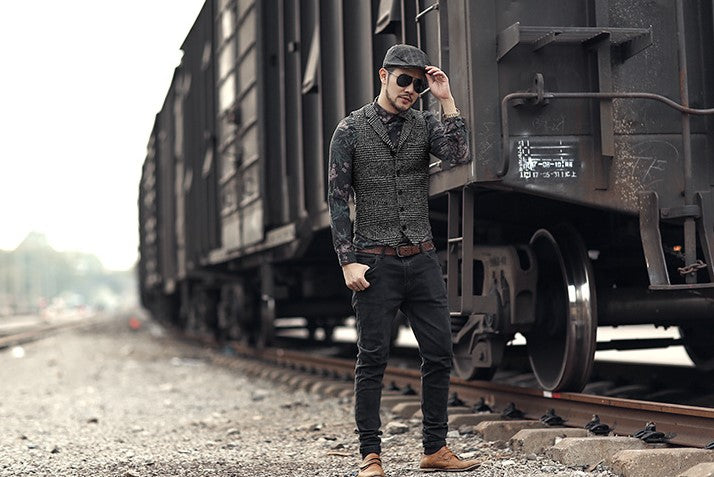 Men's Winter Woolen Retro England Style Plaid Slim Vest