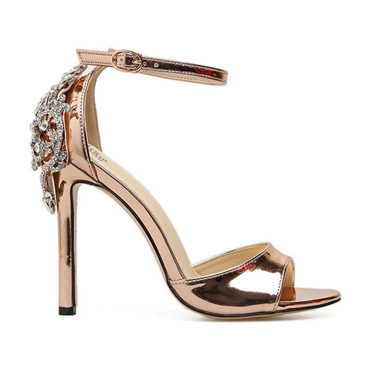 Women's Summer High-Heeled Sandals With Crystal Cover Heels