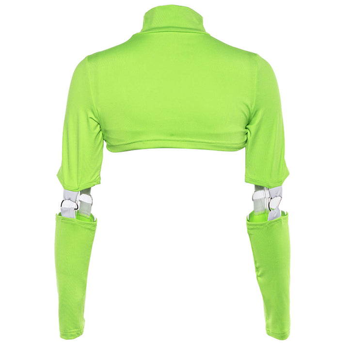 Women's Spring/Summer Long-Sleeved Hollow Out Cropped T-Shirt With Turtleneck