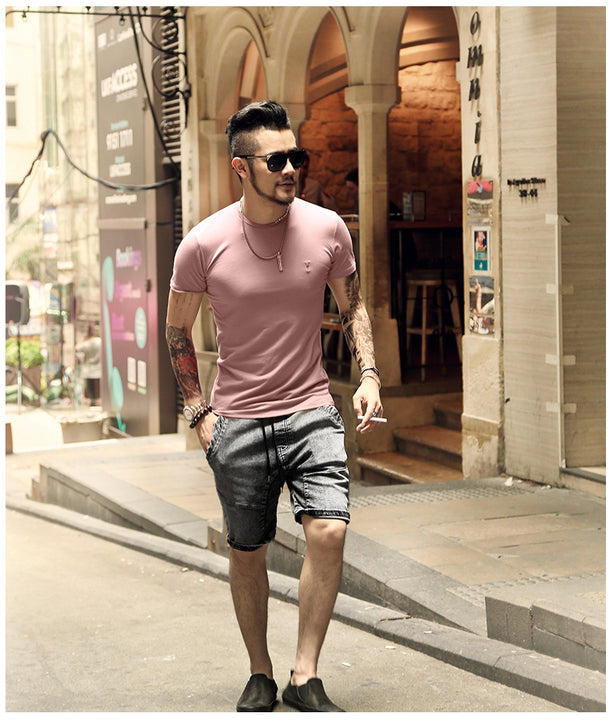 Men's Summer Casual Washed Straight Denim Shorts