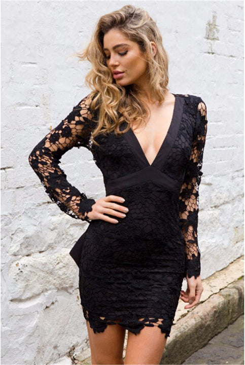Women's Summer Long-Sleeved Backless Deep V-Neck Lace Dress