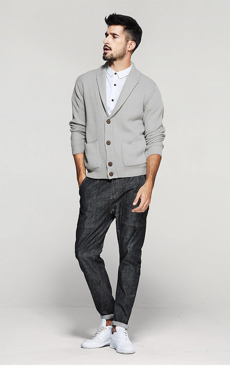 Men's Autumn/Winter Woolen Cardigan With Turn-Down Collar