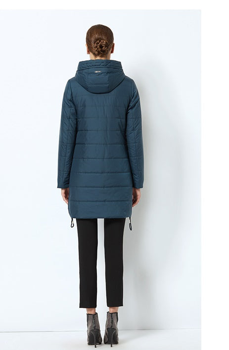 Women's Spring Warm Cotton Padded Long Jacket With Hood