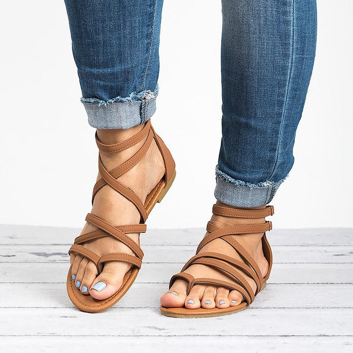 Women's Summer PU Leather Flat Gladiator Sandals