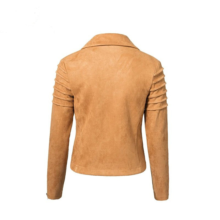 Women's Spring/Autumn Short Fuax Suede Jacket With Ruffled Sleeves
