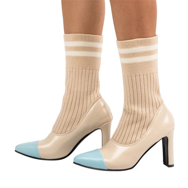 Women's Autumn/Winter High-Heeled PU Leather Sock Boots