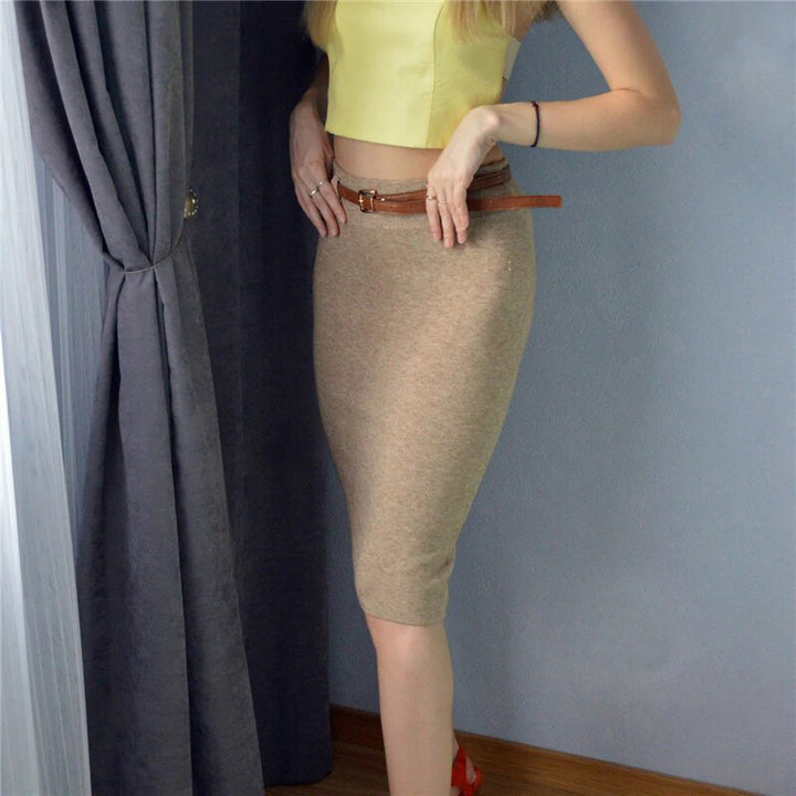 Women's Autumn/Winter Knitted High Waist Midi Pencil Skirt With Hip Split