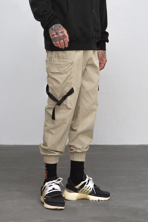 Men's Spring/Autumn Casual Cotton Cargo Pants With Side Pockets