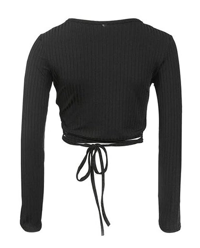 Women's Autumn/Winter Deep V-Neck Long-Sleeved Rib Knitted Cropped T-Shirt
