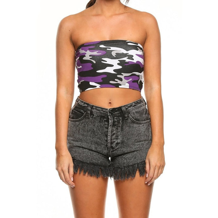 Women's Summer Cotton Sleeveless Crop Top With Camouflage Print