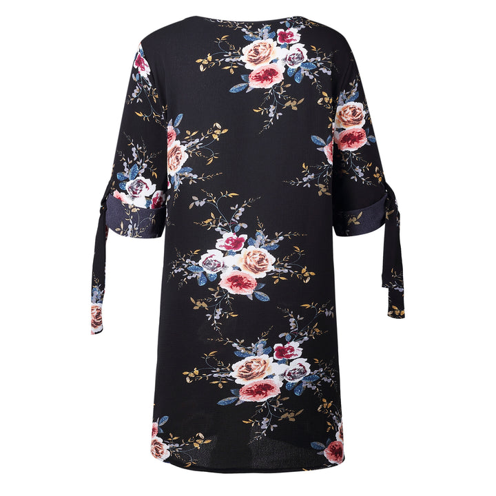 Women's Summer Casual O-Neck Chiffon Dress With Floral Pattern