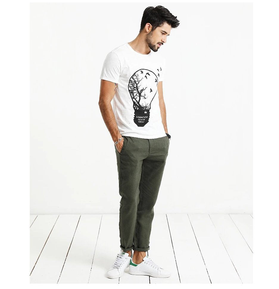 Men's Spring/Summer Casual 100% Linen Ankle-Length Pants