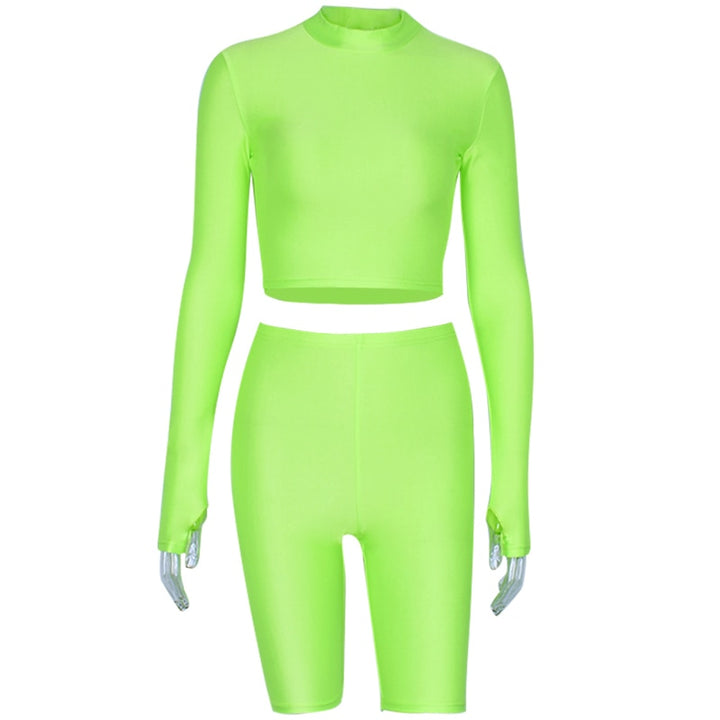 Women's Autumn Elastic Two-Piece Fitness Set | Long-Sleeved Top & Shorts