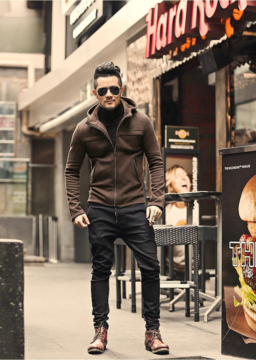Men's Winter/Autumn Cotton  Zipper Casual Solid Coat  Hoodie