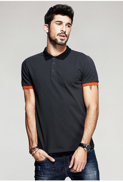 Men's Summer Patchwork Slim Fit Polo T-Shirt