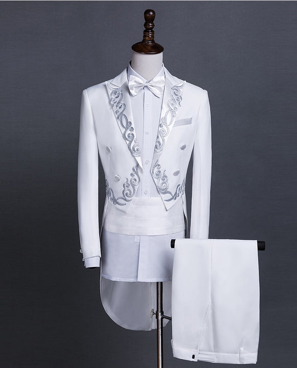 Men's Autumn/Winter Double-Breasted Tailcoat | Men's Embroidered Tuxedo