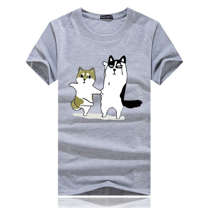 Men's Summer Cotton Short-Sleeved T-Shirt With Printed Dogs
