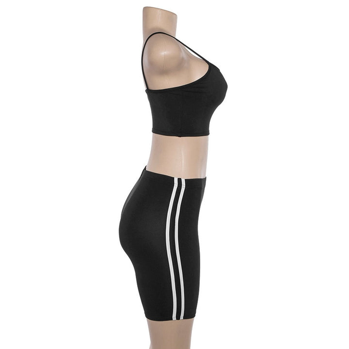 Women's Summer Elastic Fitness Set | Top And Striped Shorts