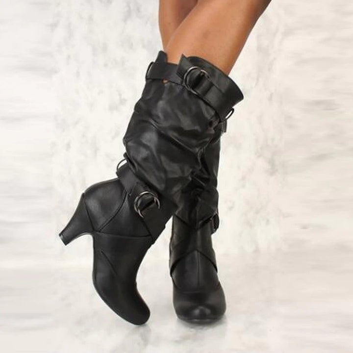 Women's Autumn/Winter High-Heeled Mid-Calf Boots With Decorative Buckles