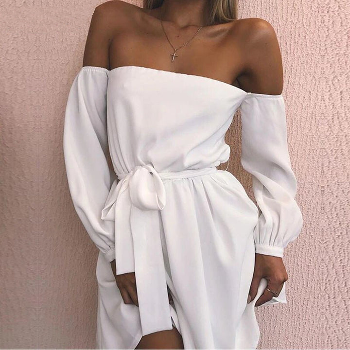 Women's Summer Long-Sleeved Off-Shoulder Strapless Slash Neck Dress