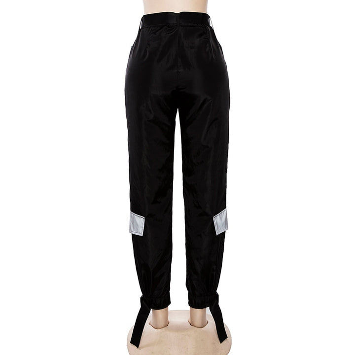 Women's Autumn/Winter Patchwork High Waist Cargo Pants With Reflective Inserts