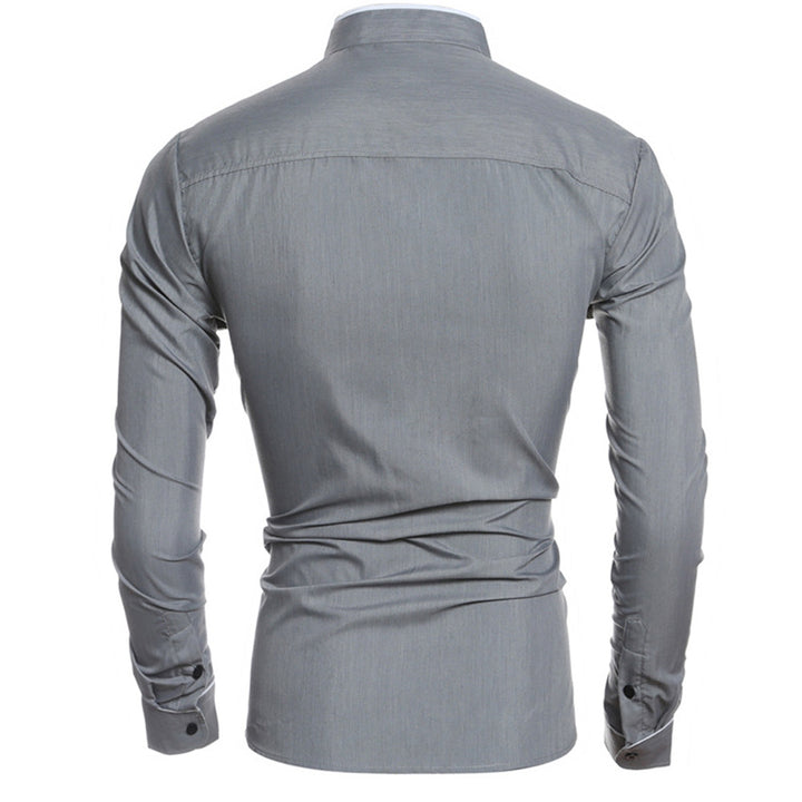 Men's Spring/Summer Basic Long-Sleeved Slim Fit Shirt