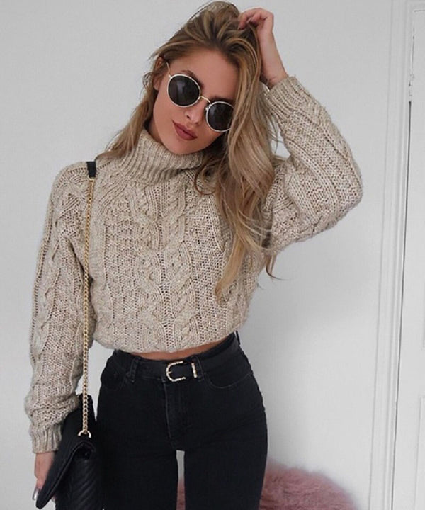 Women's Winter Knitted Cropped Sweater With Turtleneck