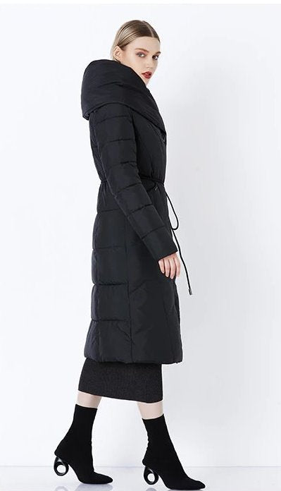 Women's Winter Warm Bio-Down Long Coat With Soft Stand Collar