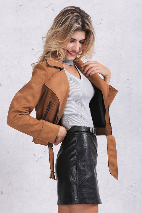 Women's Faux Leather Stylish Casual Jacket - Zorket