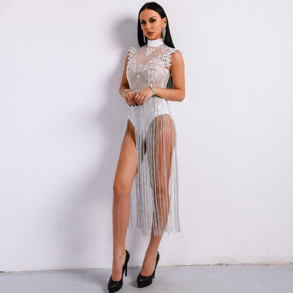 Women's Spring/Summer Glitter Bodysuit With Tassel