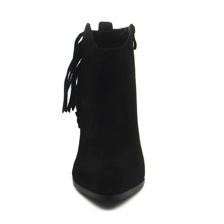 Women's Autumn/Winter Warm Flock Square-Heeled Ankle Boots With Tassels