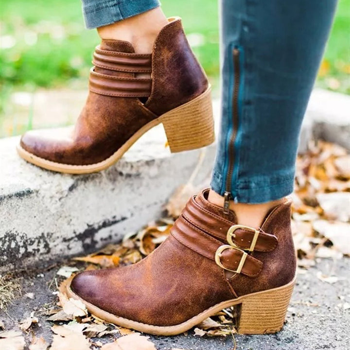Women's Autumn Casual Buckle Ankle Boots With Wooden Heels
