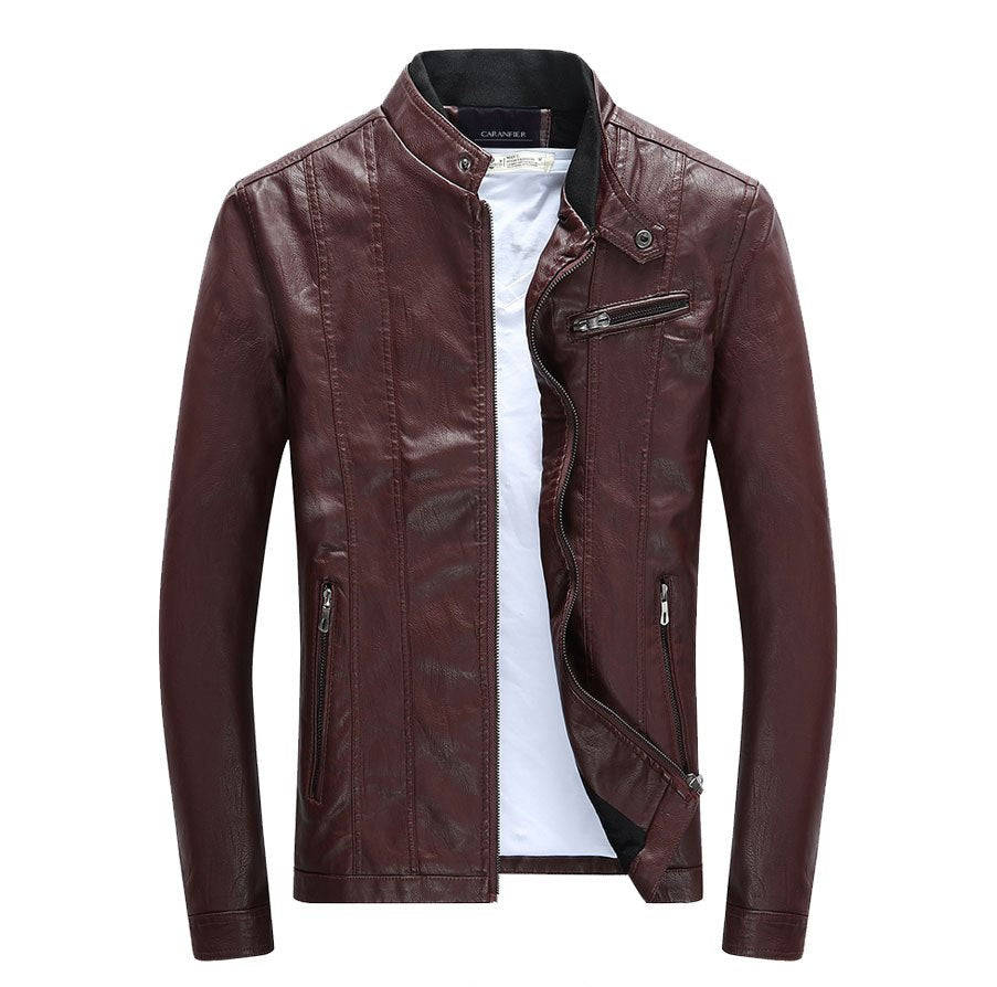 Men's Autumn/Winter PU Leather Biker Jacket With Velvet Lining
