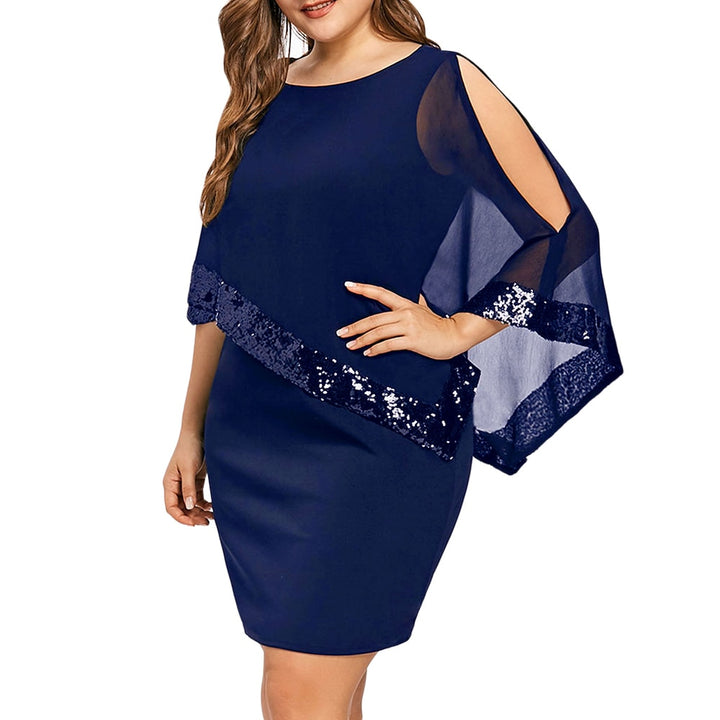 Women's Summer Sequined O-Neck Short-Sleeved Bodycon Dress