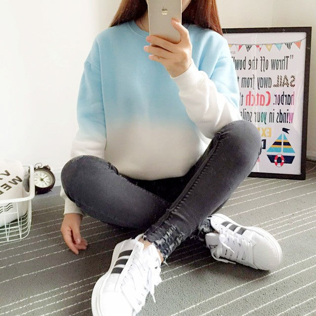 Spring & Autumn Gradient Color Casual Women's Sweatshirt With O-Neck - Zorket