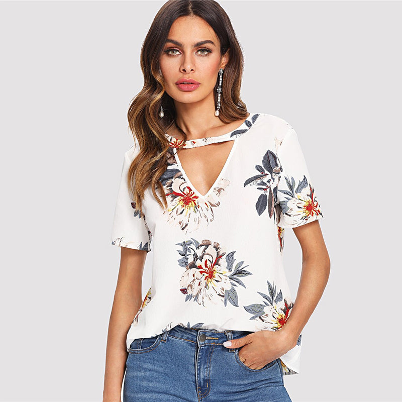 Casual Blouse with Floral Print