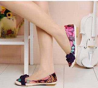 Flats – Casual Stylish Female Flats With Flower Print | Zorket