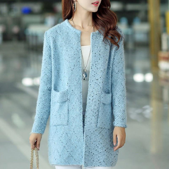 Women's Loose Knitted Casual O-Neck Solid Full Sleeve Autumn Cardigan