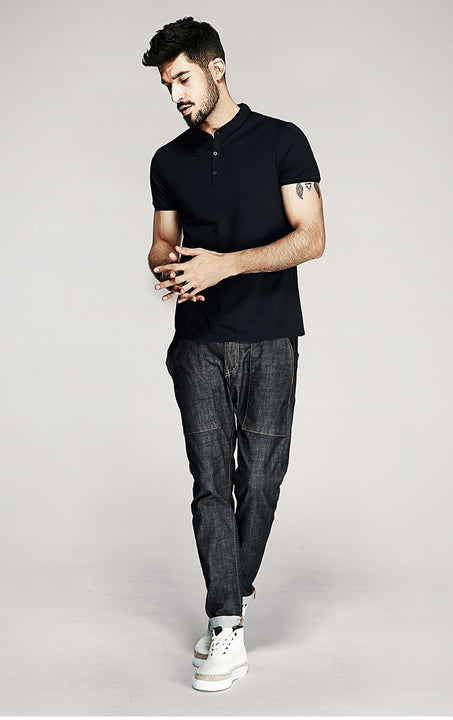 Men's Summer Casual Slim T-Shirt With Buttoned Collar