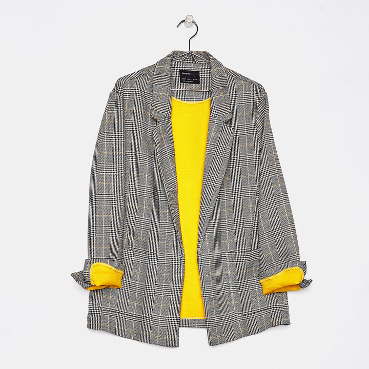 Women's Autumn Plaid Long Blazer With Yellow Lining