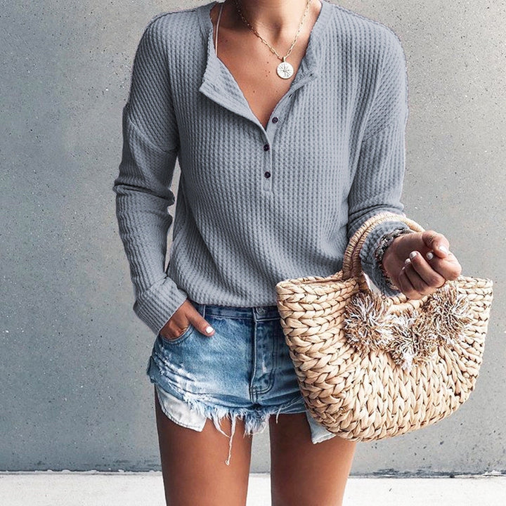Women's Spring/Autumn Casual Long-Sleeved Knitted Slim T-Shirt
