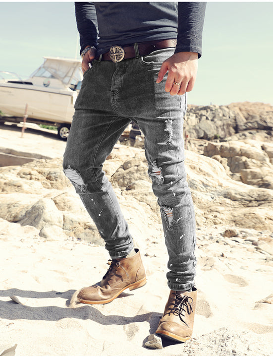 Men's Spring/Autumn Washed Ripped Slim Jeans